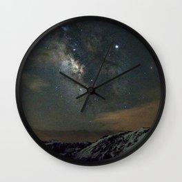 Watercolor Nightscape, Trail Ridge Road 01, RMNP, Colorado, Mmmmmmilky Way Wall Clock