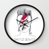 bowie Wall Clocks featuring Bowie by ☿ cactei ☿