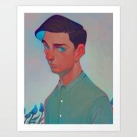 neon - aqua Art Print