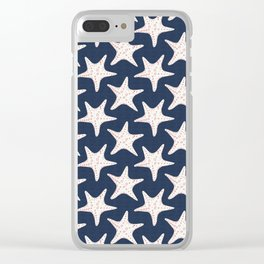 Sea Stars Pattern Navy Blue Clear iPhone Case