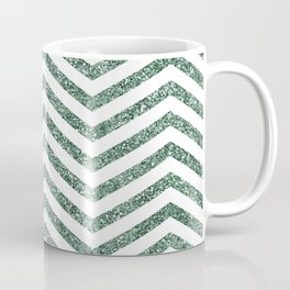 Green Glitter Chevron Coffee Mug