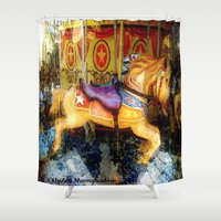 carousel Shower Curtains featuring Carousel by AlyZen Moonshadow