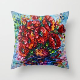 Red Poppies In A Vase Palette Knife Painting Throw Pillow