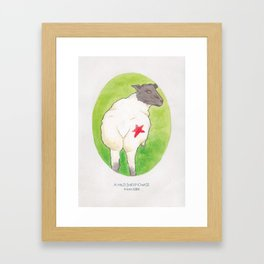 Haruki Murakami's A Wild Sheep Chase // Illustration of a Sheep with a Red Star in Watercolour Framed Art Print