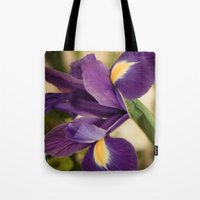iris Tote Bags featuring Iris by Light Wanderer
