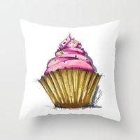 cupcake Throw Pillows featuring Cupcake by Svitlana M