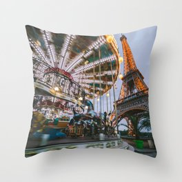 Blue hour in Paris Throw Pillow