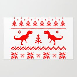 Ugly Christmas Sweater T-Rex Rug