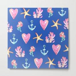 Beautiful Mermaid Theme Pattern Cute Gift for Girls Starfish Hearts Anchor Mermaid Metal Print