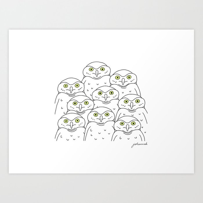 Group of Owls Art Print