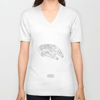 millenium falcon V-neck T-shirts featuring STARWARS Millenium Falcon continuous line by Sam Hallows