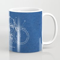 motorcycle Mugs featuring Motorcycle blueprint by marcusmelton