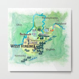 USA West Virginia State Travel Poster Map mit touristischen Highlights Metal Print