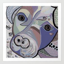 Pit Bull Denim Tones Art Print