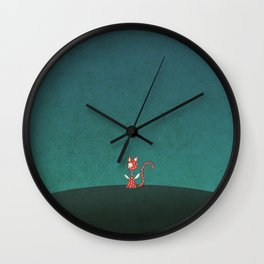 Small winged polka-dotted red cat Wall Clock