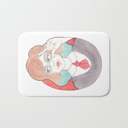 Nerdy, Blue-Haired Minerva in Vintage Glasses Watercolor Illustration Bath Mat