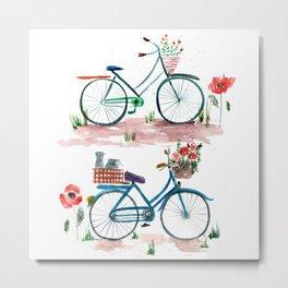 watercolor vintage bike, floral bicycle, summer bike ride Metal Print