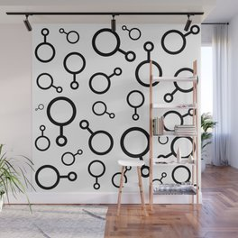 Black and White Circles Geometric Pattern Abstract Design Wall Mural
