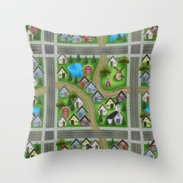 Tiny Cottages in a Tiny World Throw Pillow