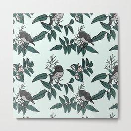 Robins on Jasmine branches - pale blue Metal Print