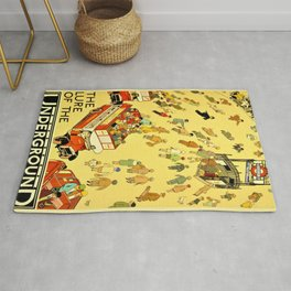 Vintage Lure of the London Underground Subway Travel Advertisement Poster Rug