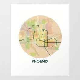 Phoenix Map Art Print