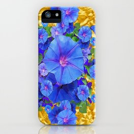 BLUE BUTTERFLIES & M0RNING GLORIES ON GOLD LEAF iPhone Case