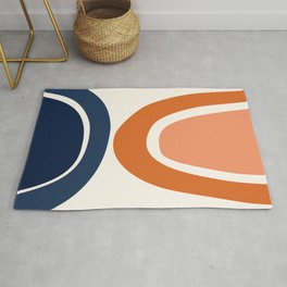 Abstract Shapes 7 in Burnt Orange and Navy Blue Rug