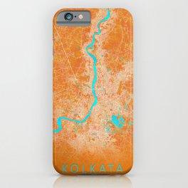 Kolkata, India, Gold, Blue, City, Map iPhone Case