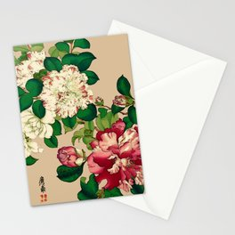 Vintage Japanese Camellias. Deep Pink on Beige Stationery Cards
