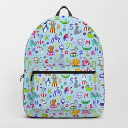 Circus Animal Alphabet - multi on pale blue Backpack