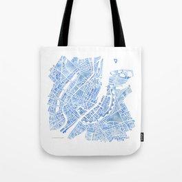 Copenhagen Denmark watercolor city map Tote Bag