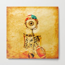 Monsieur Bone plays football  Metal Print