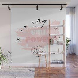 Girl Power rose blush Wall Mural