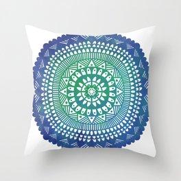 Mandala in blue watercolor Throw Pillow