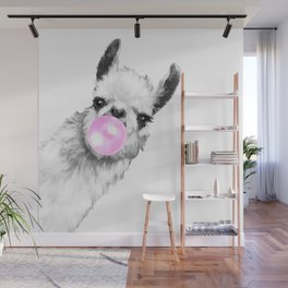 Bubble Gum Sneaky Llama Black and White Wall Mural