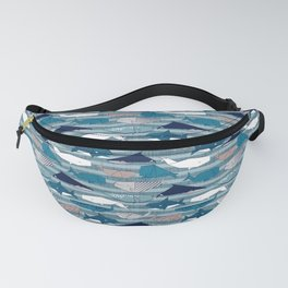 Origami Sea // linen texture and nautical stripes background teal white and taupe whales Fanny Pack