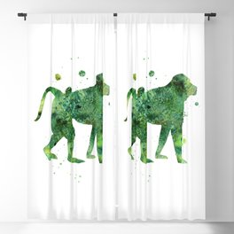 Baboon Watercolor Painting Blackout Curtain