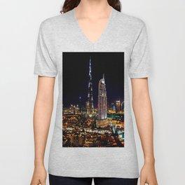 Burj Khalifa Tower Dubai India at Night Unisex V-Neck