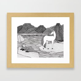 A Meeting by the Water--B&W Framed Art Print