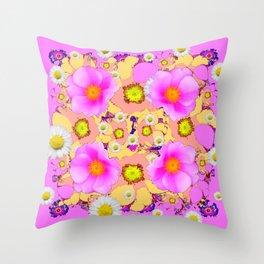 Pink Design & Pink Roses Shasta Daisies Art Abstract Throw Pillow