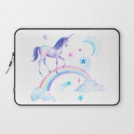 Watercolor Over the Rainbow Unicorn Laptop Sleeve