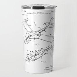 patent art Anderson Toy airplane with folding wings having tabs 1968 Travel Mug