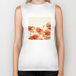 Poppy Flower Meadow- Floral Summer lllustration Biker Tank