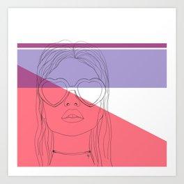 The girl in the heart sunglasses Art Print