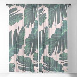 Tropical Blush Banana Leaves Dream #1 #decor #art #society6 Sheer Curtain