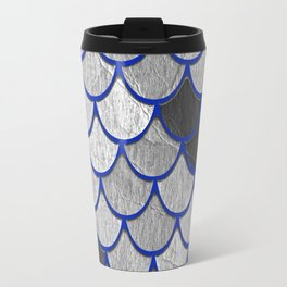 Dragon Scales with Blue Outline Travel Mug