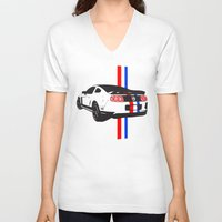 mustang V-neck T-shirts featuring 2013 Mustang by Amador