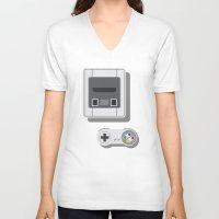 nintendo V-neck T-shirts featuring Super Nintendo by Di No