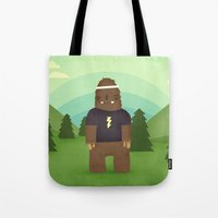 sasquatch Tote Bags featuring sasquatch  by Pope Saint Victor